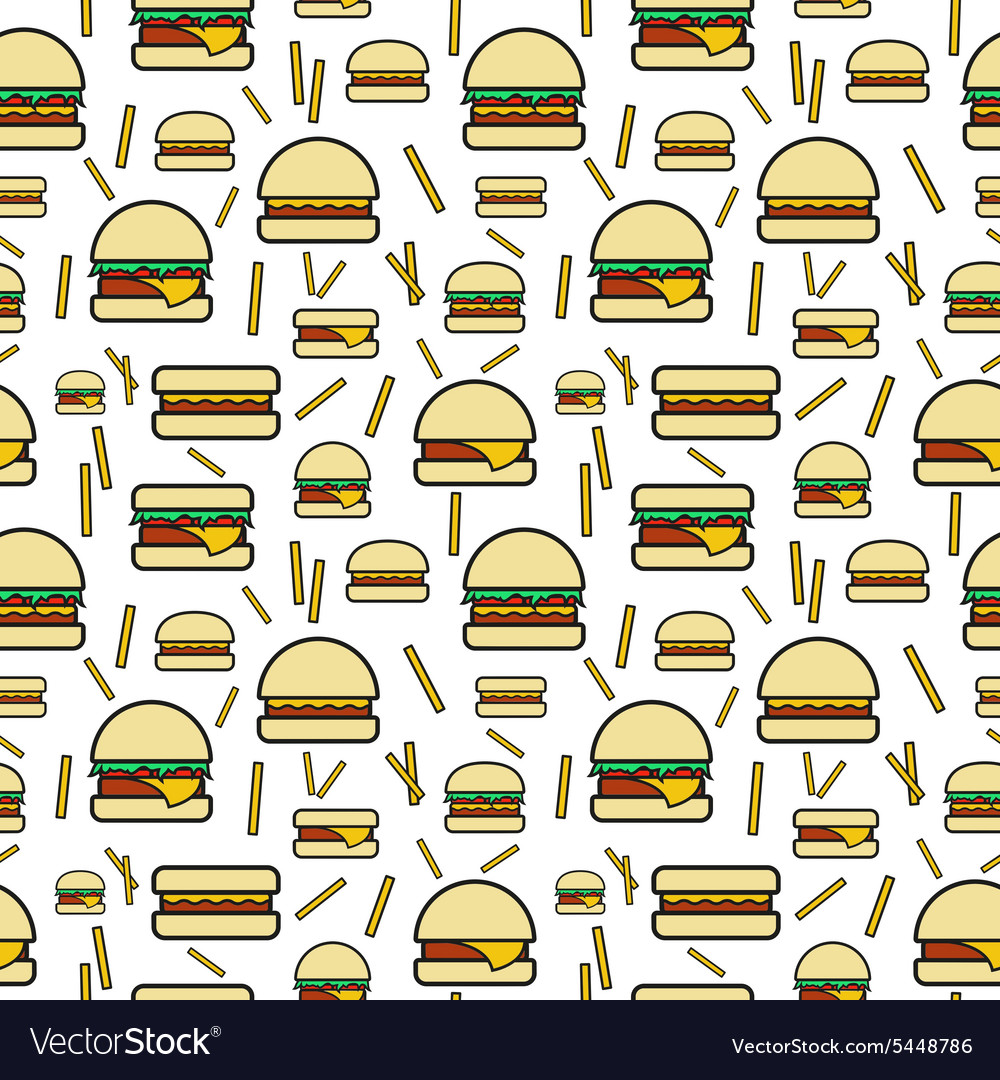 Seamless pattern of burgers and fries on white vector image