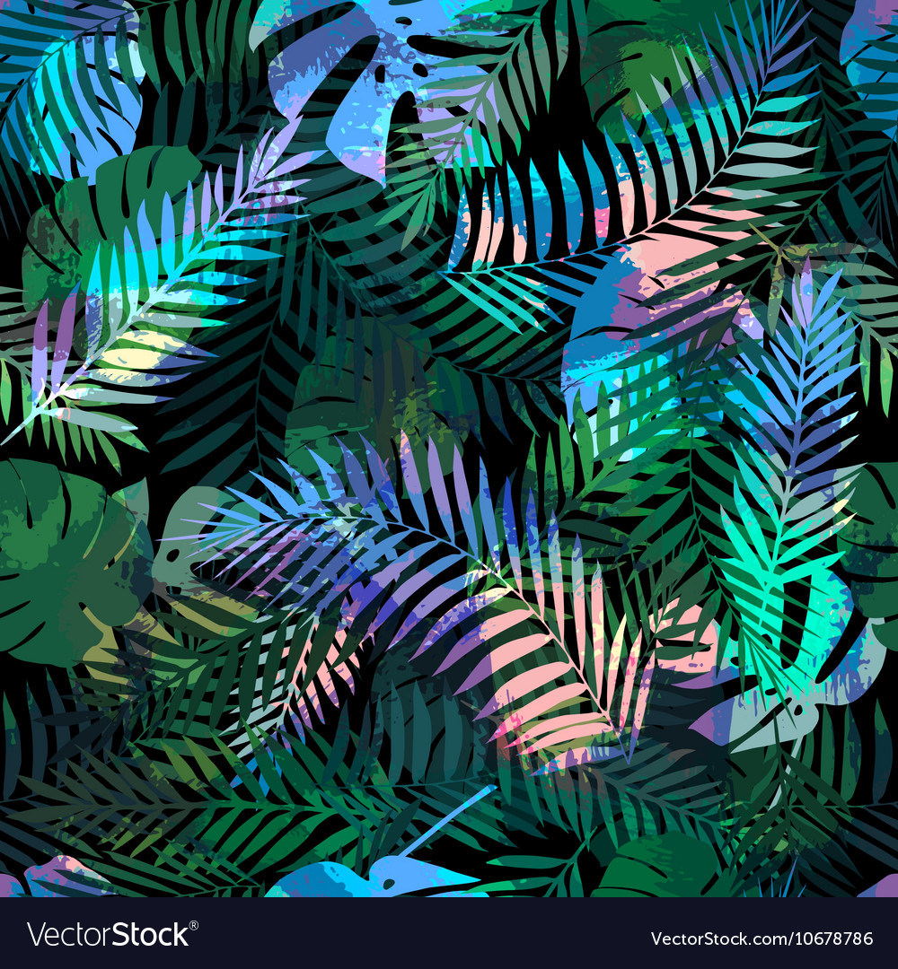 Seamless tropical pattern with palm leaves for