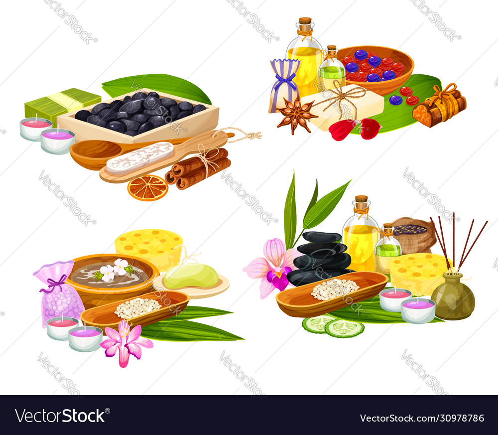 Thai Spa Body Care And Wellness Therapy Items Vector Image