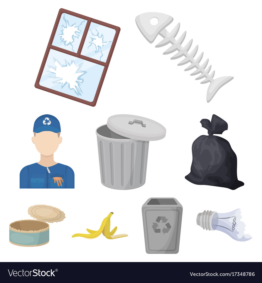 Trash and garbage set icons in cartoon style big
