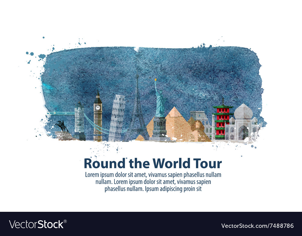 Travel journey historic buildings of the world vector image