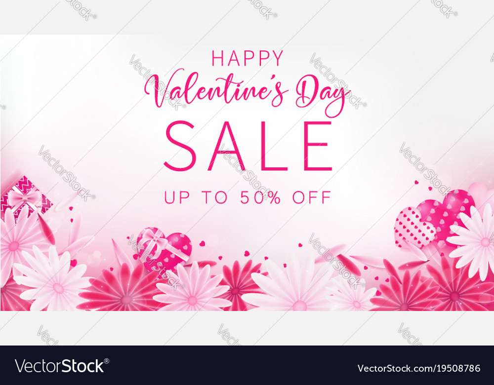 Valentines Day Sale Banner Royalty Free Vector Image