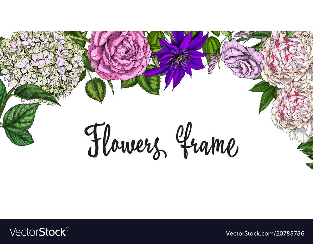 Vintage spring frame colorful blooming flowers