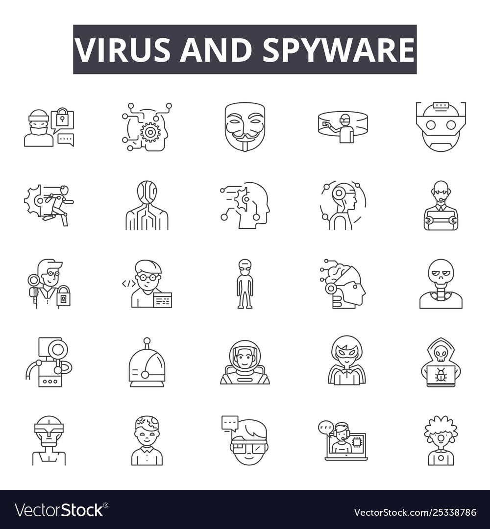 Virus and spyware line icons signs set