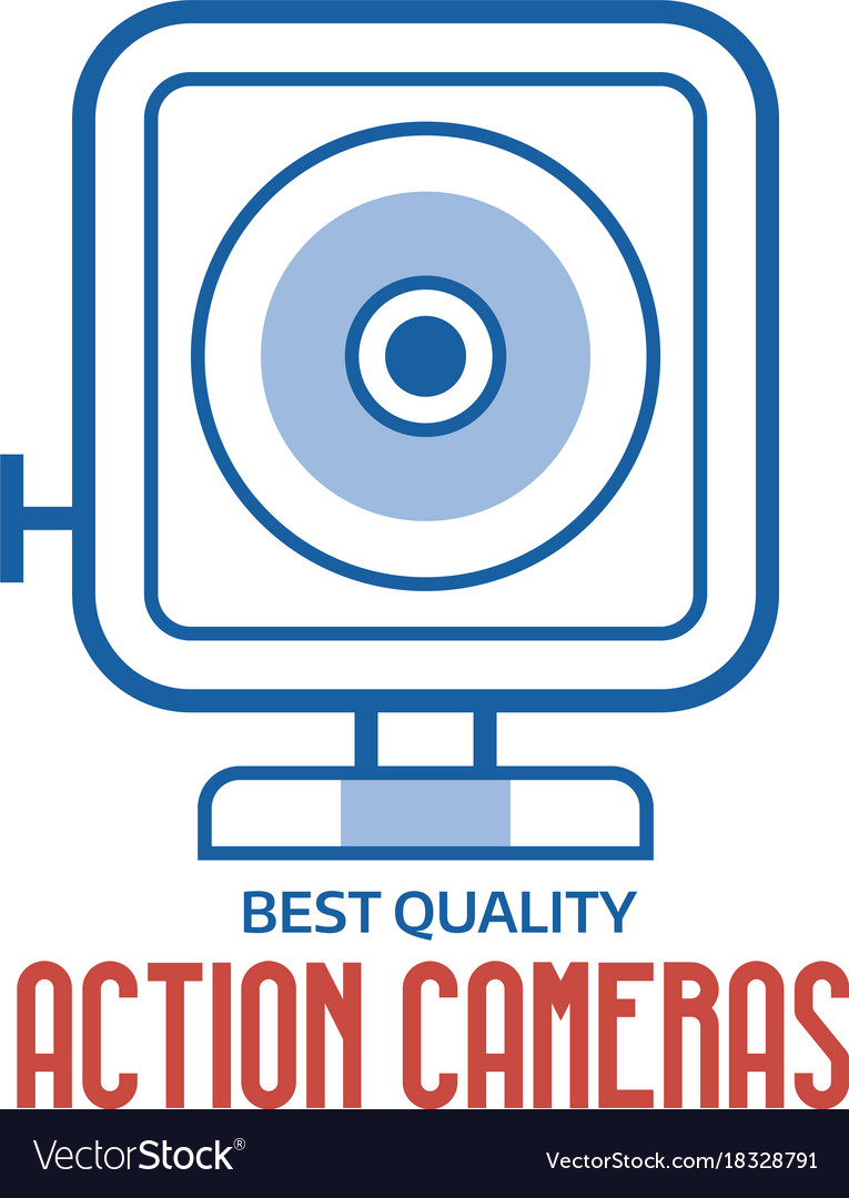 Action camera line logo or label template