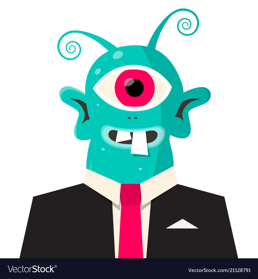 Alien avatar monster in suit isolated on white