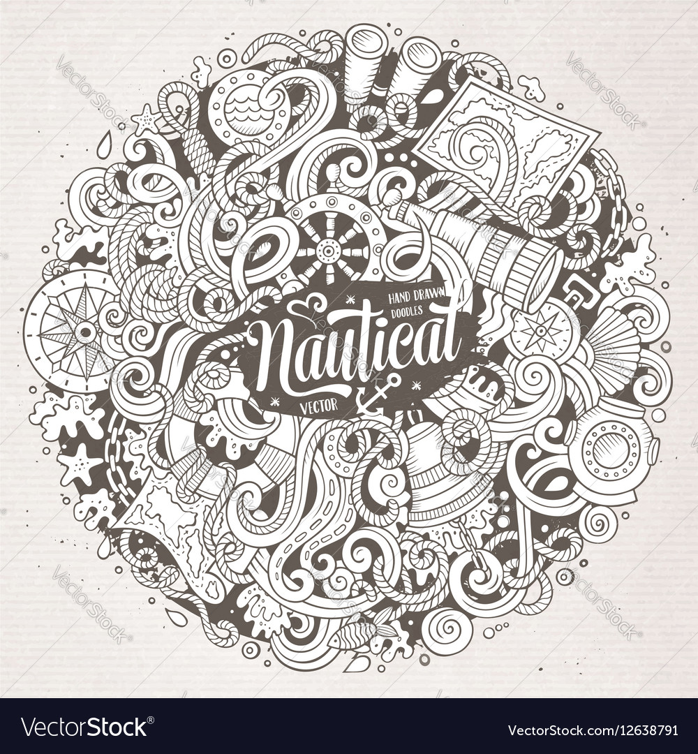 Cartoon cute doodles hand drawn nautical