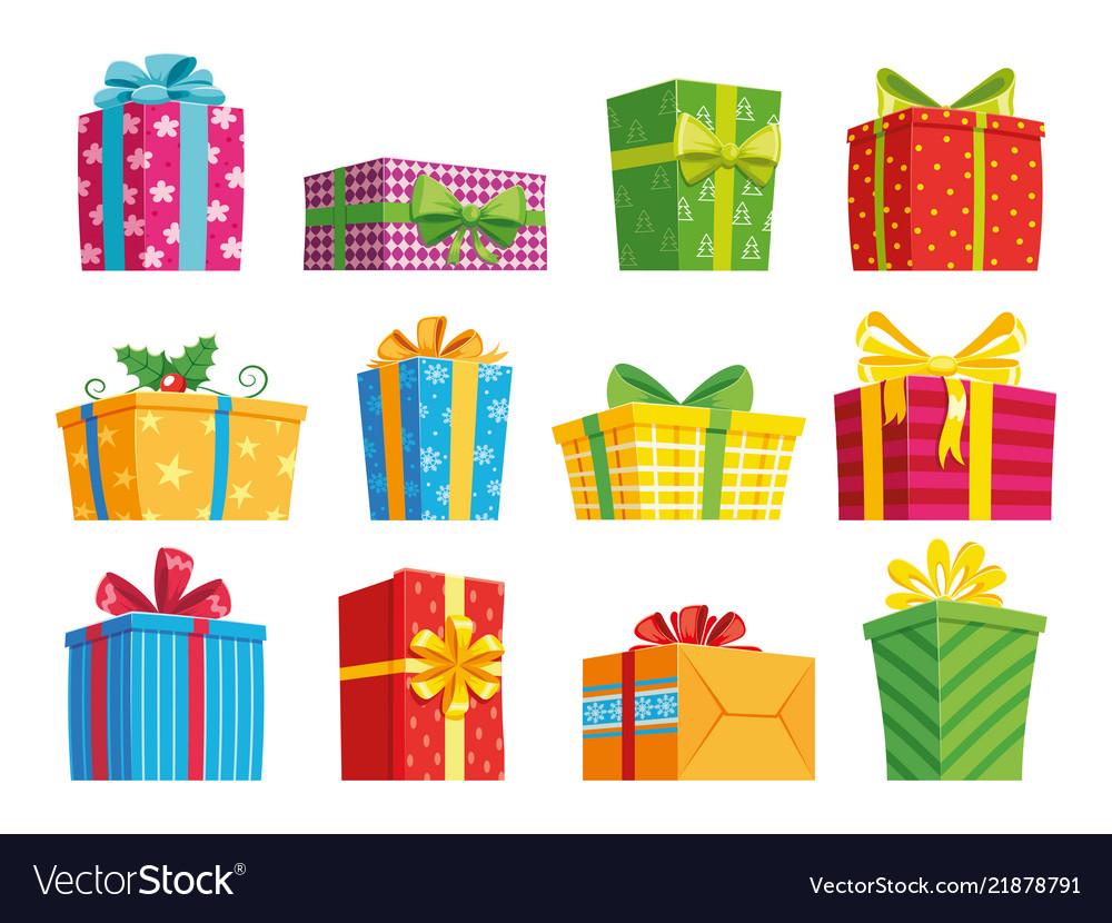 Christmas Gift Boxes.Cartoon Gift Box Christmas Presents Gifting