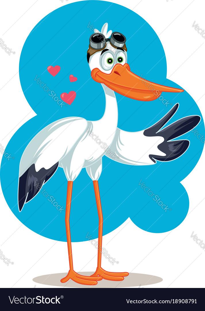 Cartoon stork with aviator glasses baby card