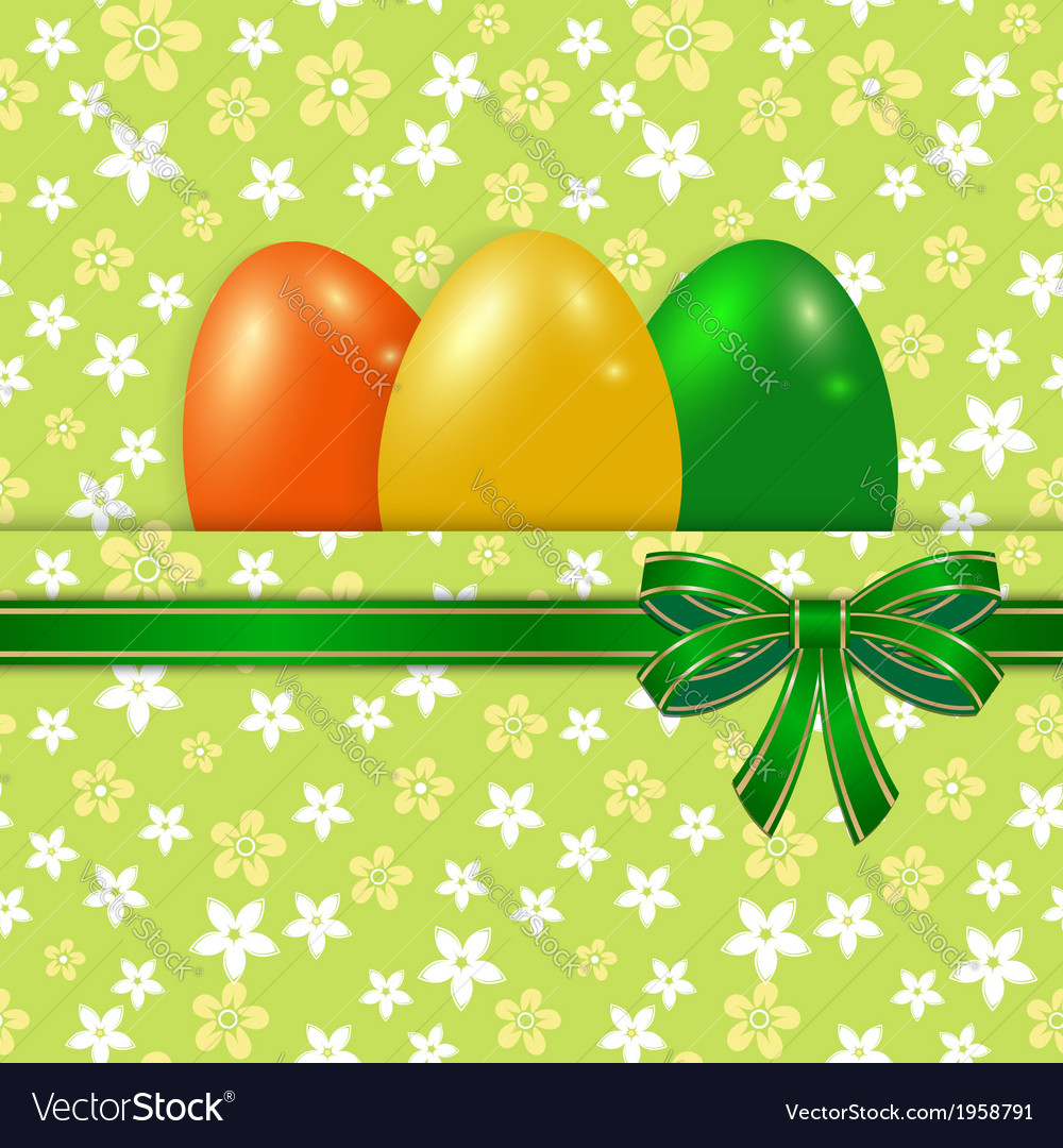 easter card template with bow green royalty free vector