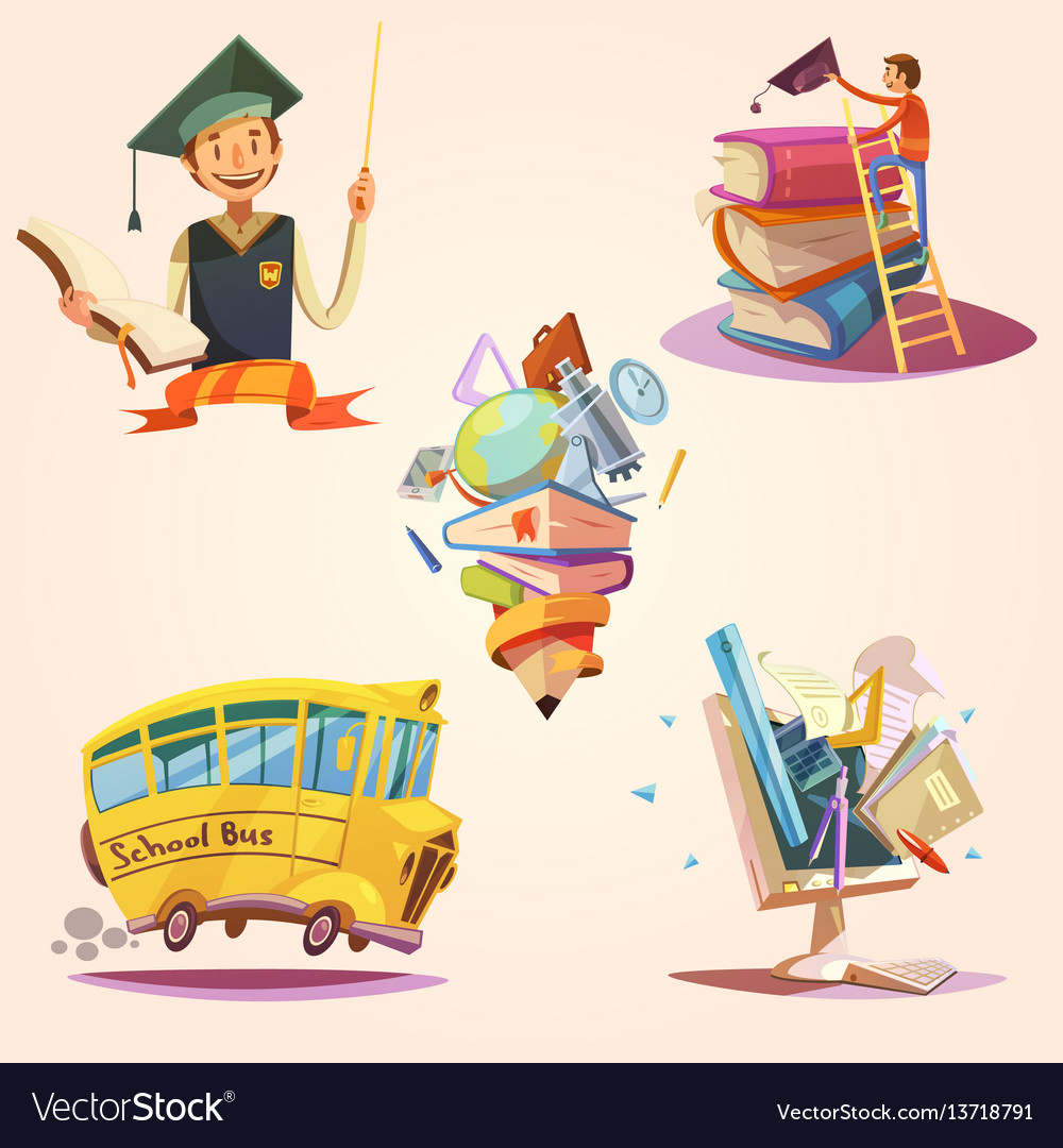 Education cartoon retro set vector image