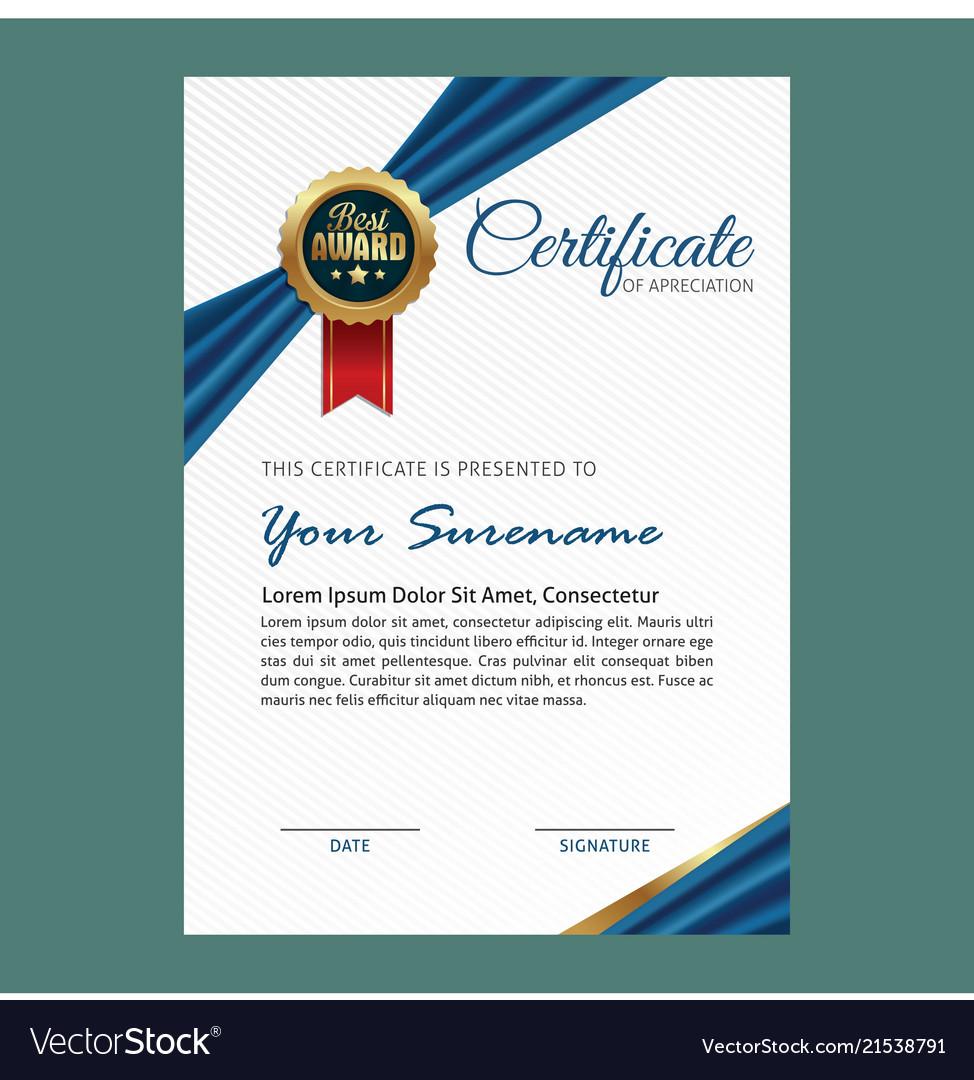 Elegant Certificate Template Royalty Free Vector Image