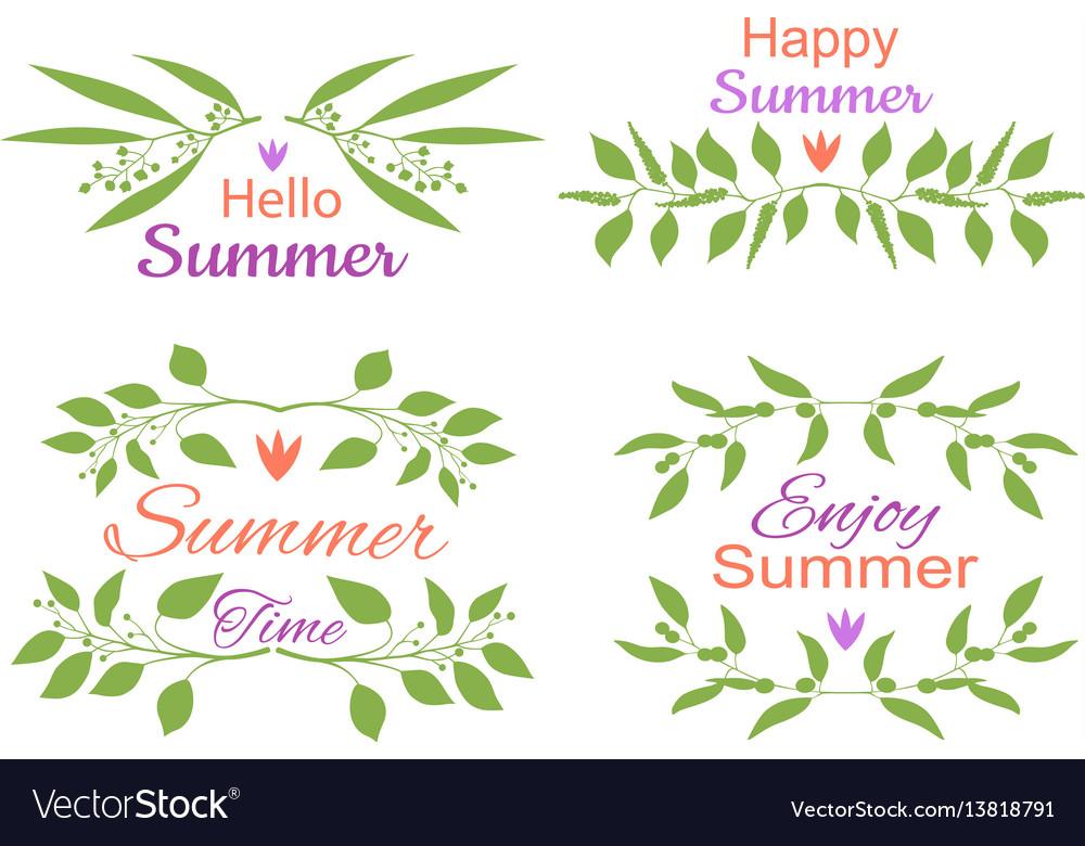 Elegant floral decorative elements set with summer