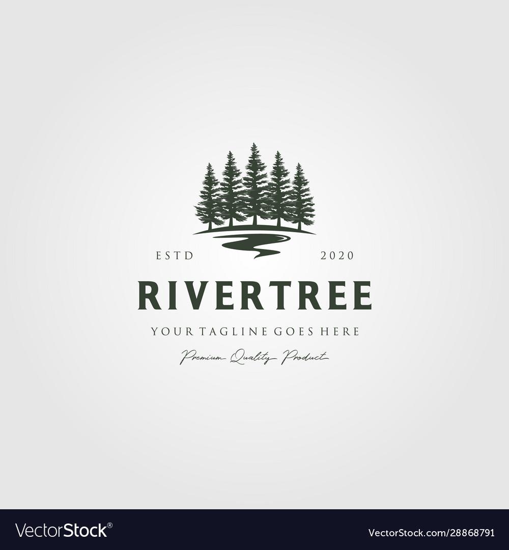 Evergreen pine tree logo vintage with river creek
