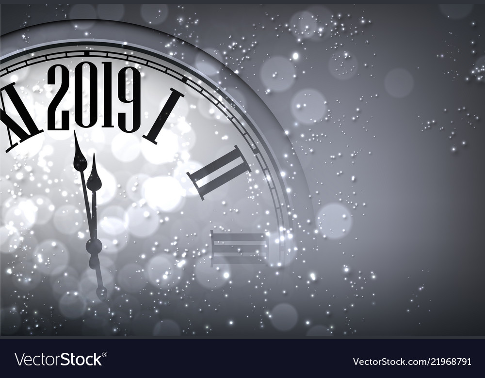 grey new year 2019 background with blurred clock vector image