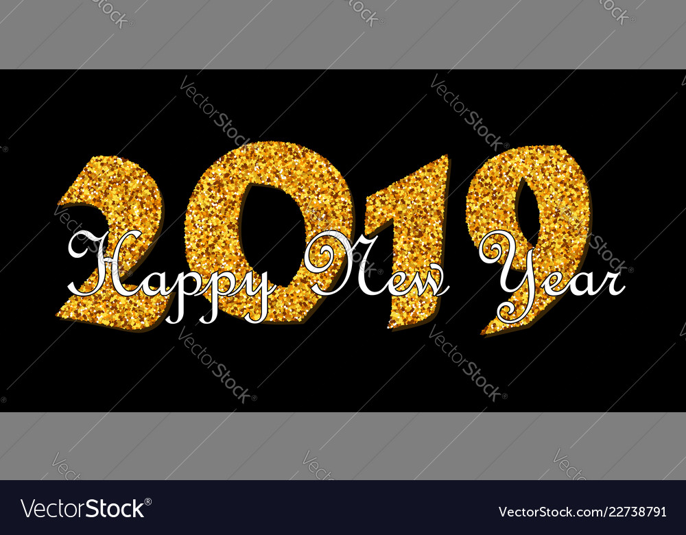 Happy new year text bright gold number 2019