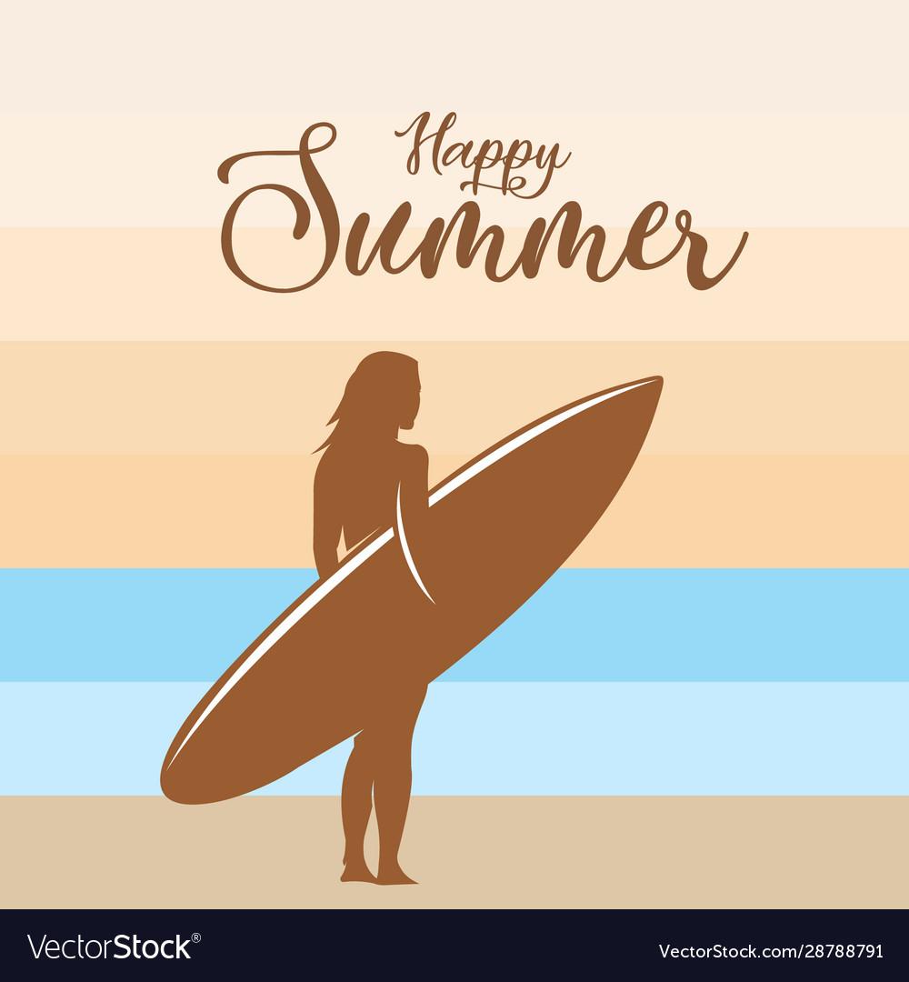 Happy summer surfing background