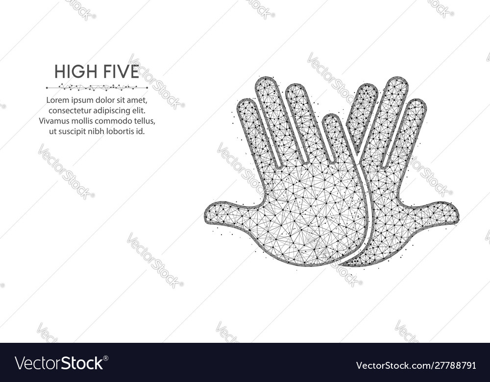 High five low poly design hands abstract