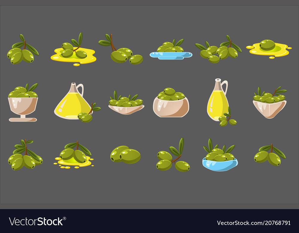 Olives set olive oil in a glass jug