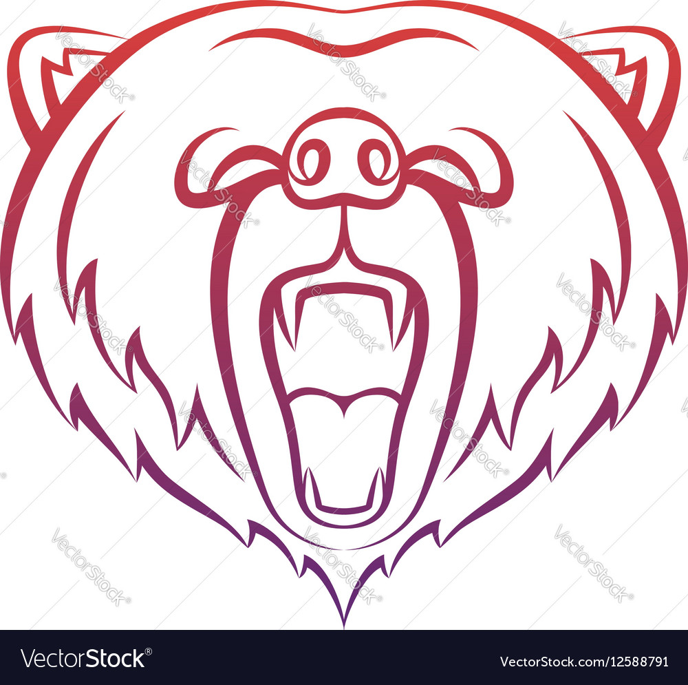Roaring bear icon isolated on a white background