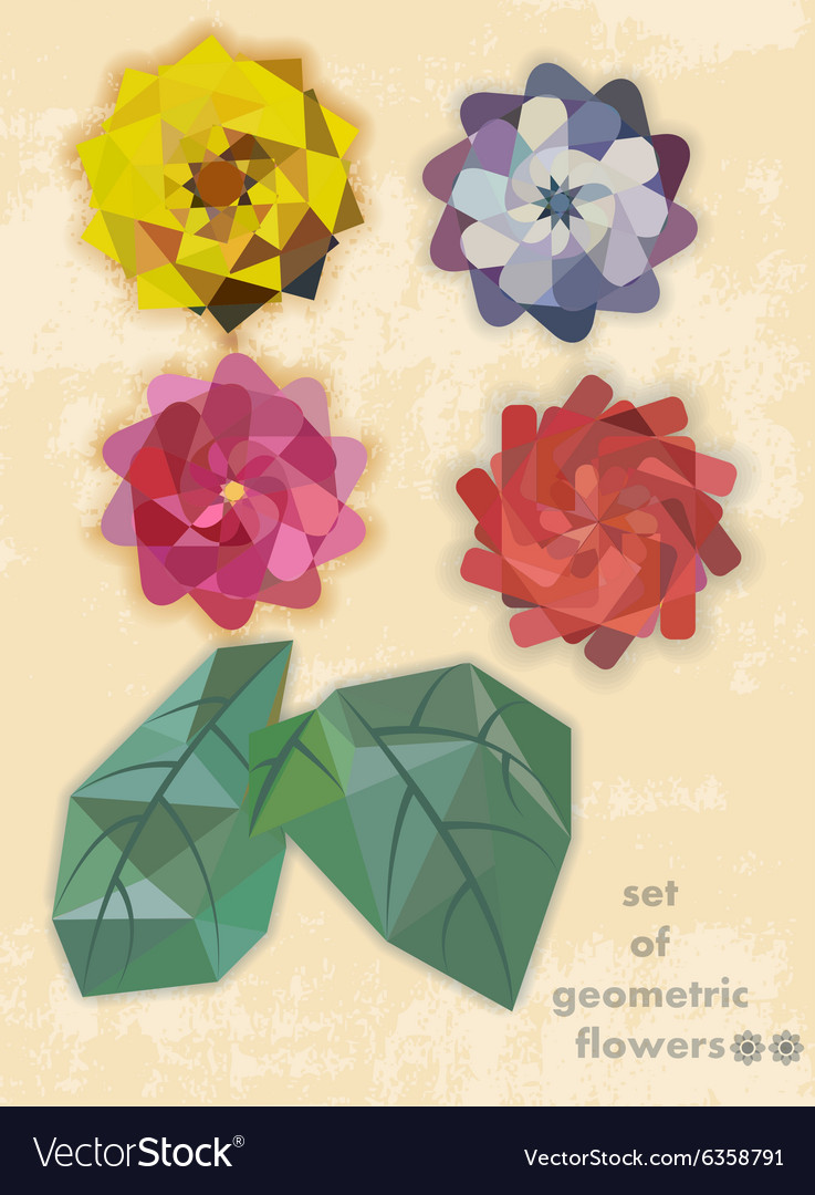 Set of geometric flowers
