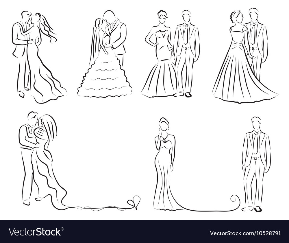Silhouette of bride and groom set newlyweds sketch