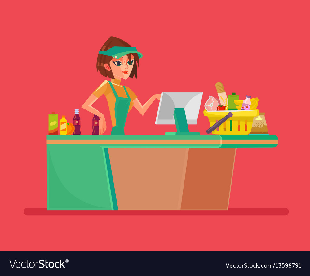 Supermarket smiling cashier woman character