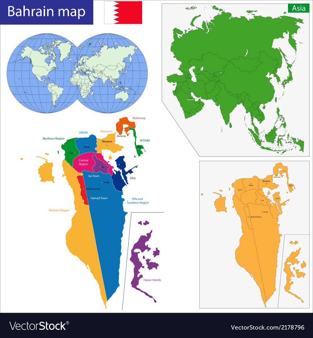 Bahrain On A World Map.Bahrain Map Royalty Free Vector Image Vectorstock
