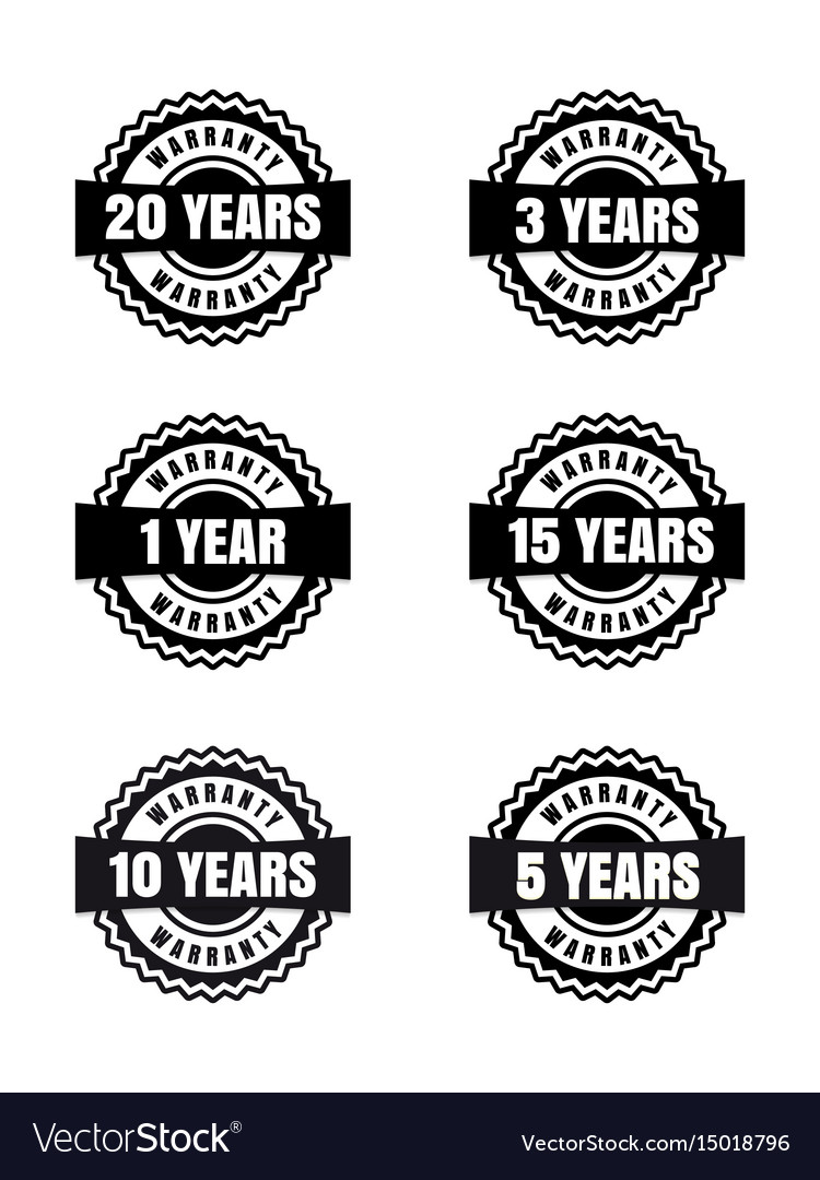 Black and white warranty labels set