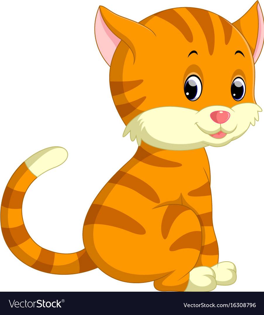 cute cat cartoon royalty free vector image vectorstock rh vectorstock com cat cartoon images free cat cartoon images black and white