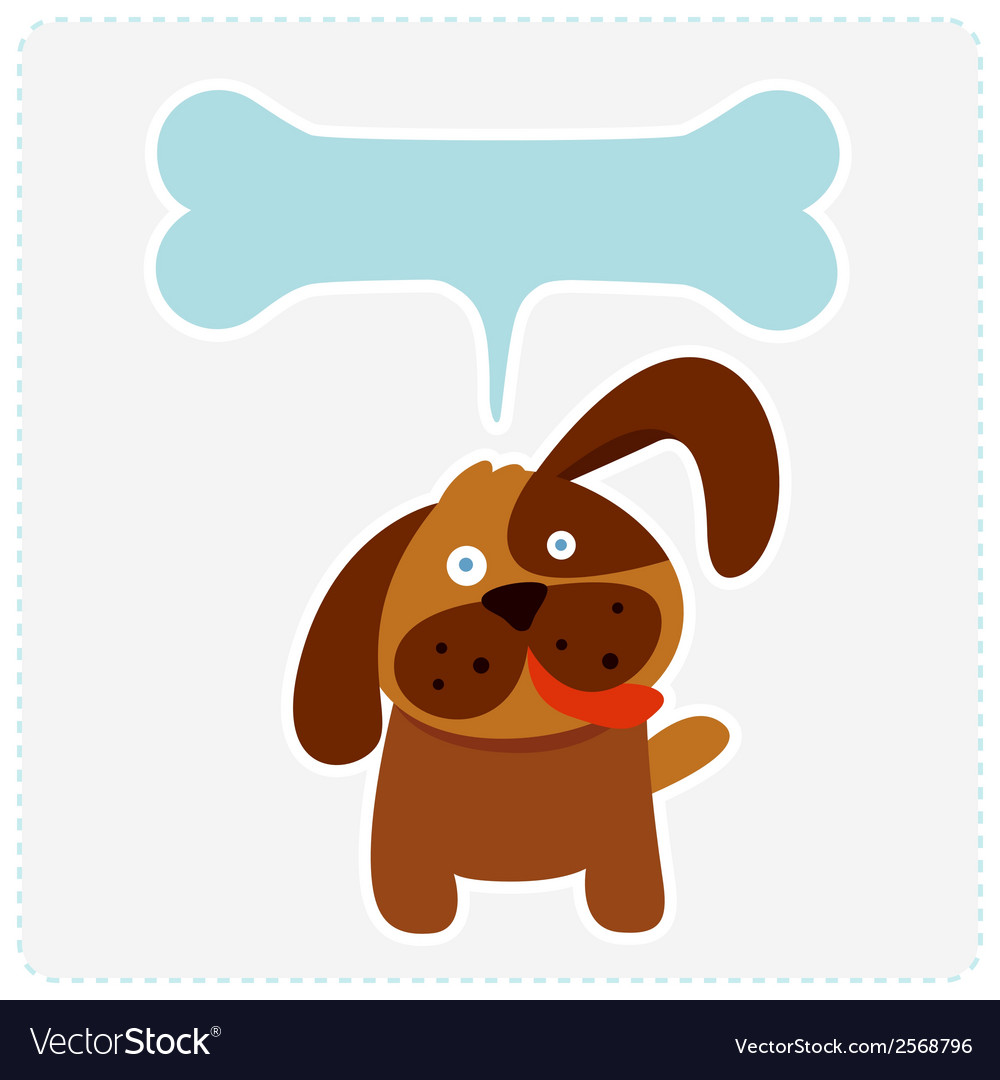 Cute dog with bone shape speech bubble vector image
