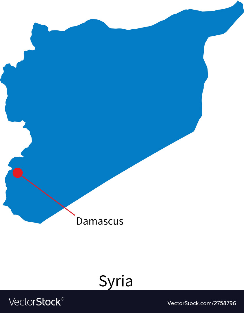 Detailed map of Syria and capital city Damascus Vector Image on