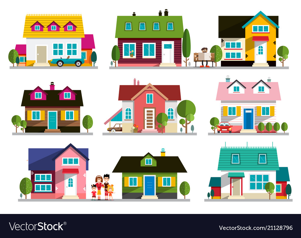 Family house icon home symbol buildings set