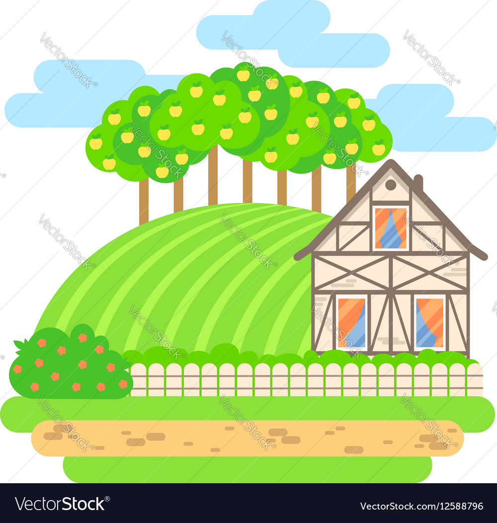 Flat design landscape Village house with field