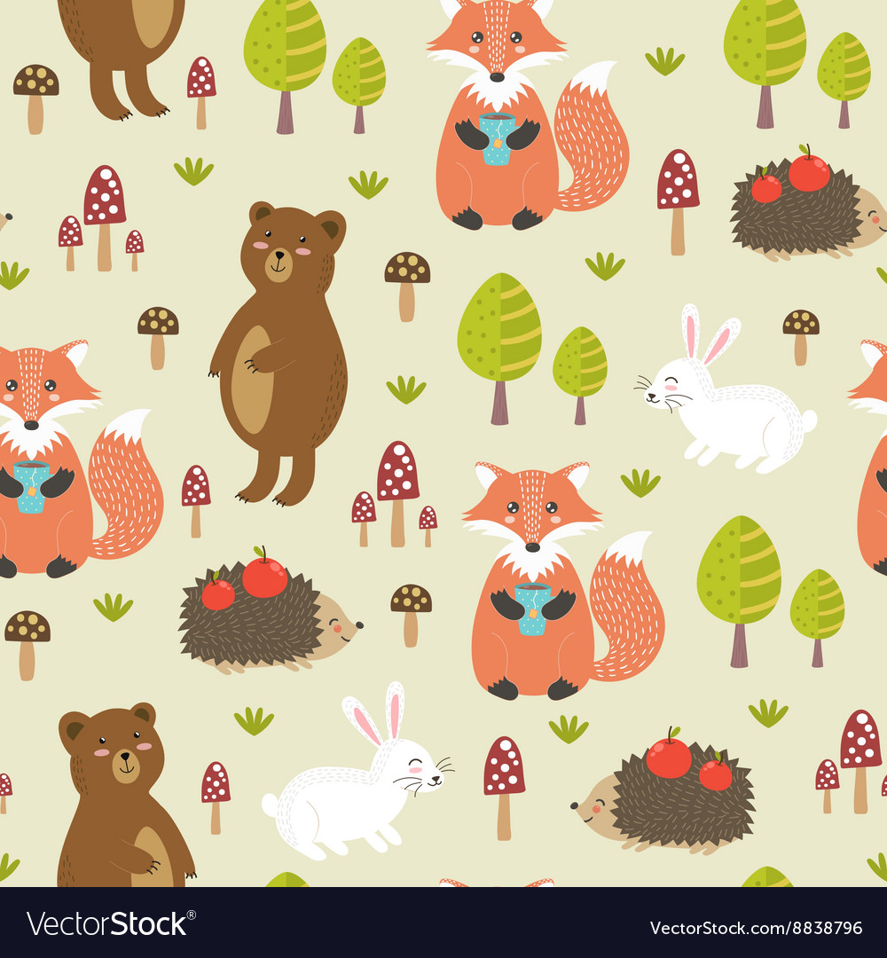 Forest seamless pattern in childish style