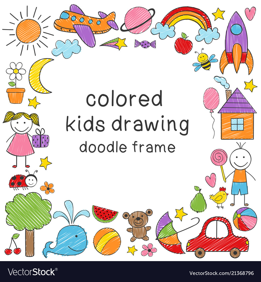 Frame with colored kids drawing Royalty Free Vector Image