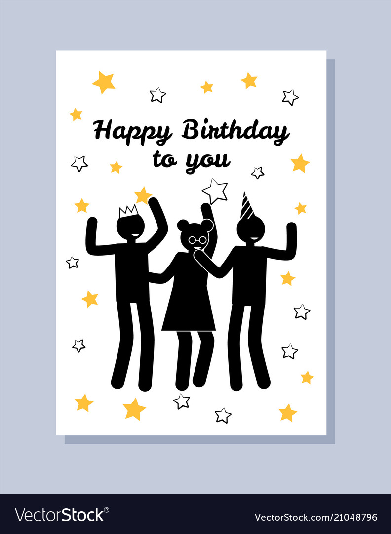 Happy birthday you greeting poster dancing people