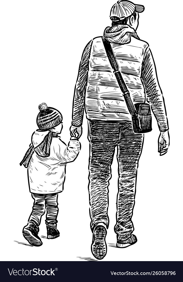 man with his kid on a walk royalty free vector image man with his kid on a walk royalty free vector image
