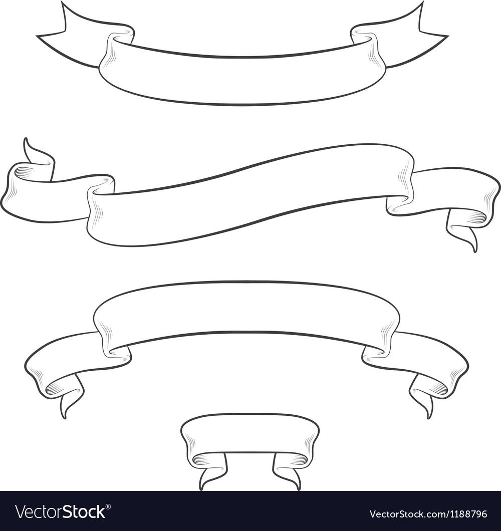 Set of 4 vintage ribbons vector image