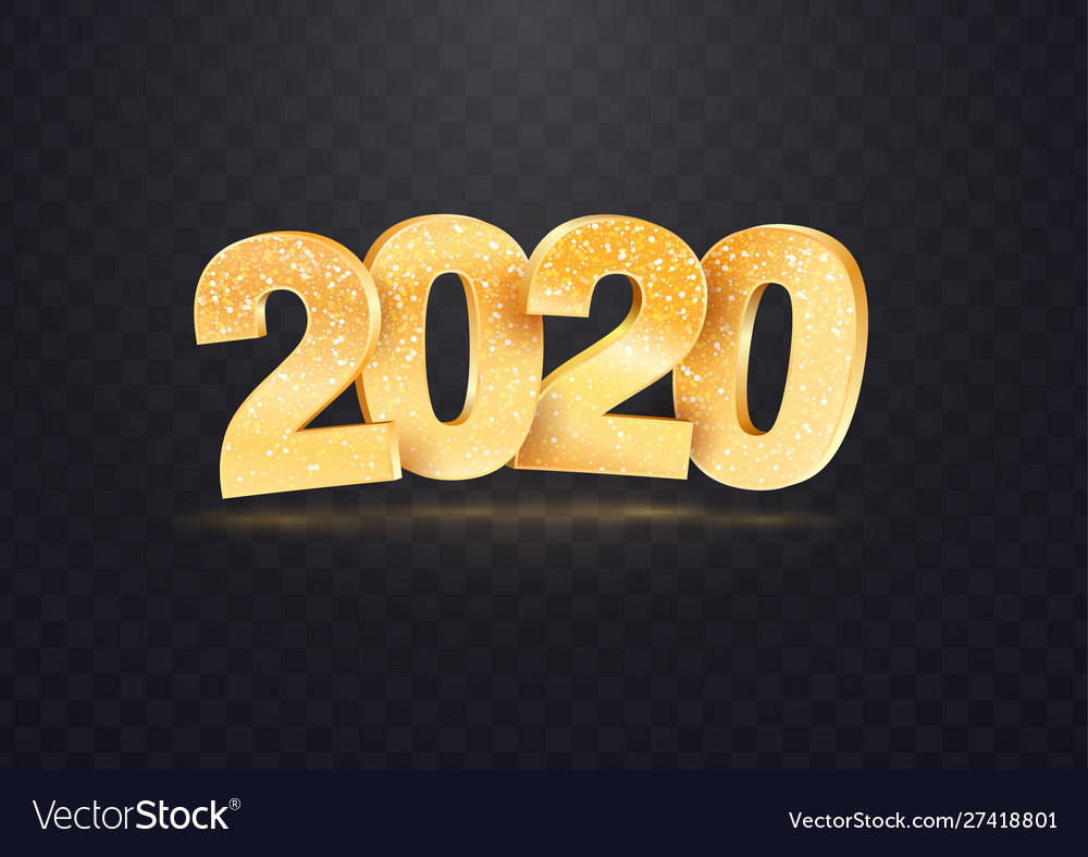 2020 golden numbers on transparent
