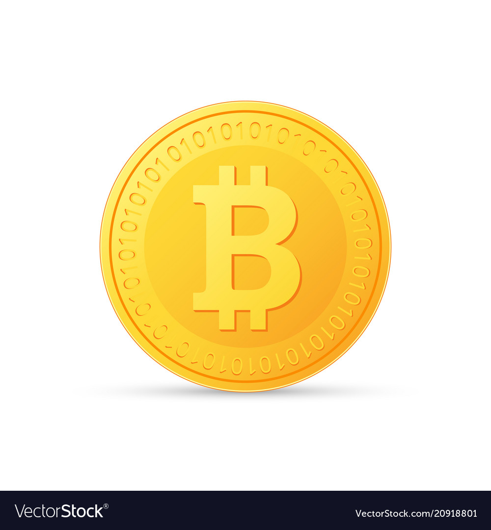 Bitcoin icon is a golden color crypto currency vector image