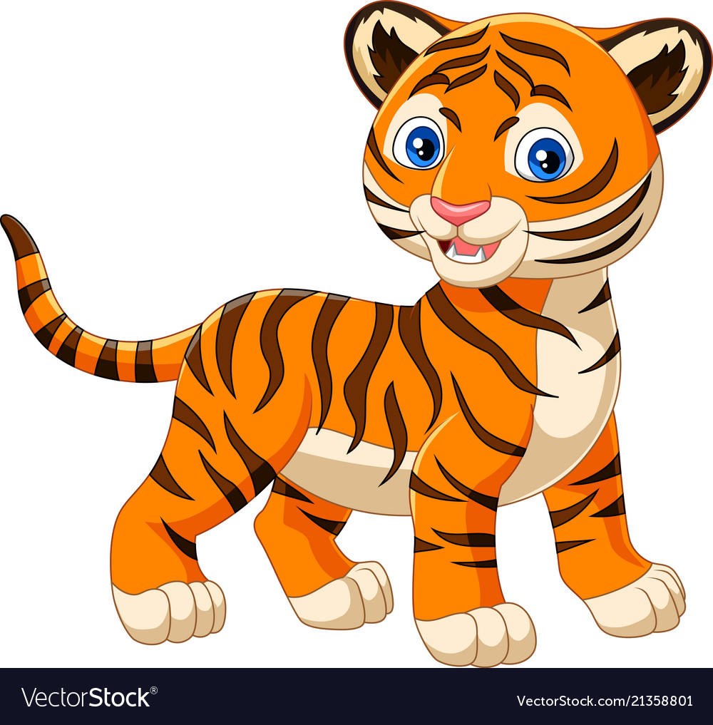 Cartoon baby tiger isolated on white background