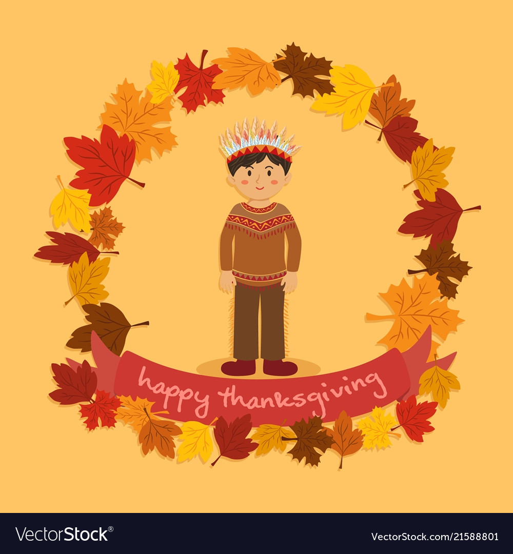 Circle autumn leaf thanksgiving indian boy