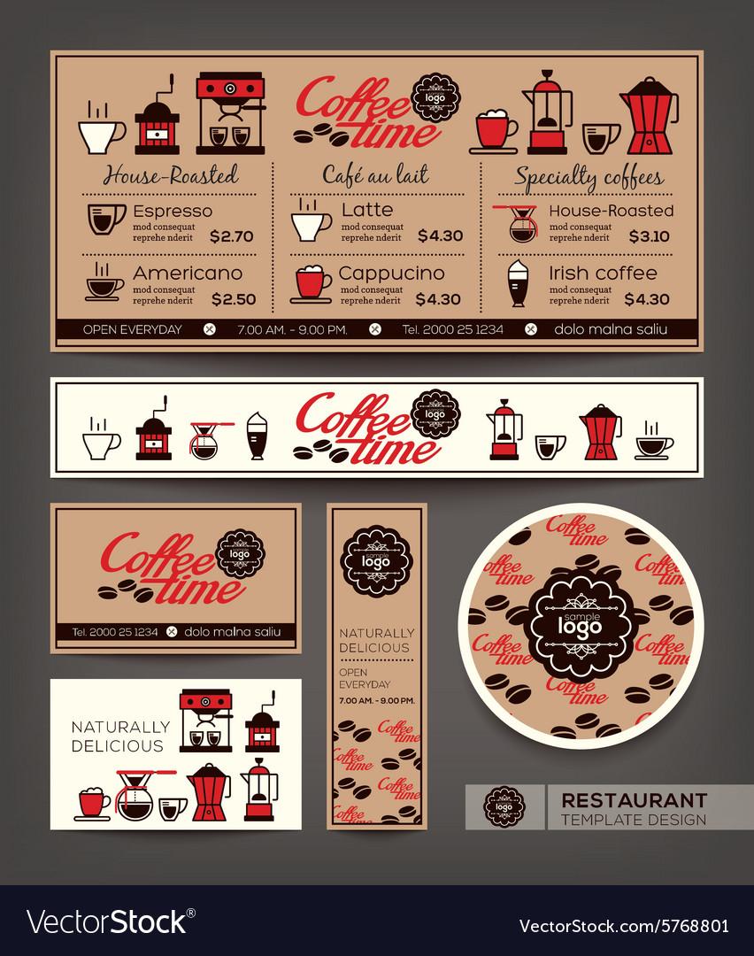 Coffee shop cafe set menu template