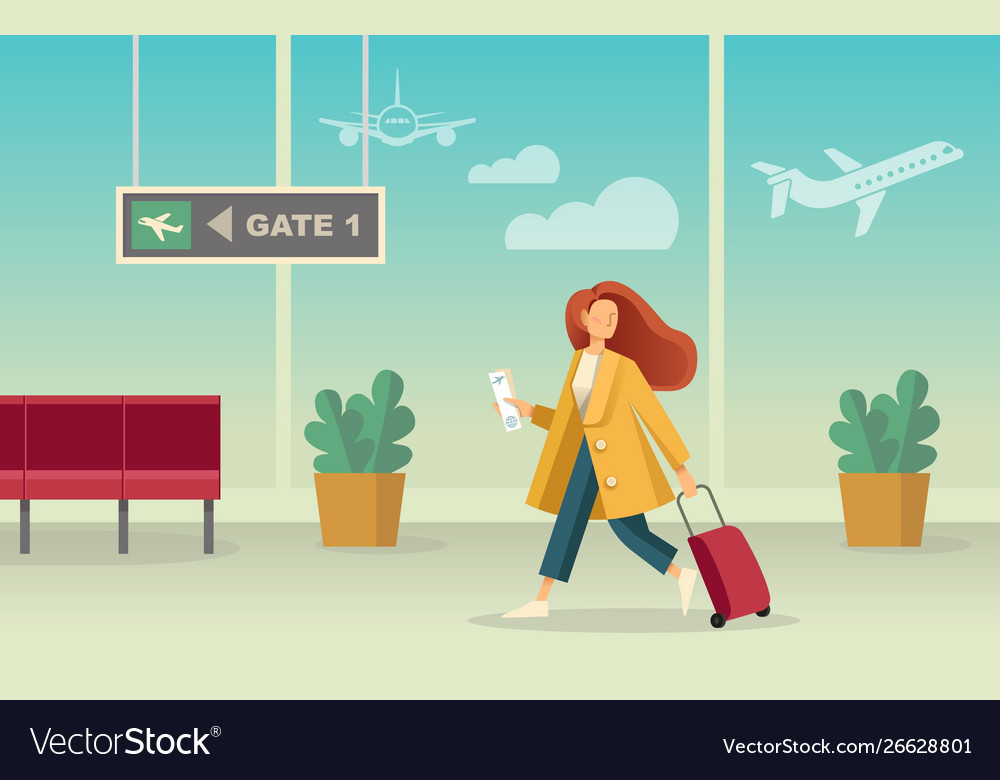 Girl with a suitcase at airport
