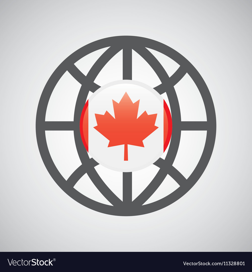Globe sphere flag canada country button graphic