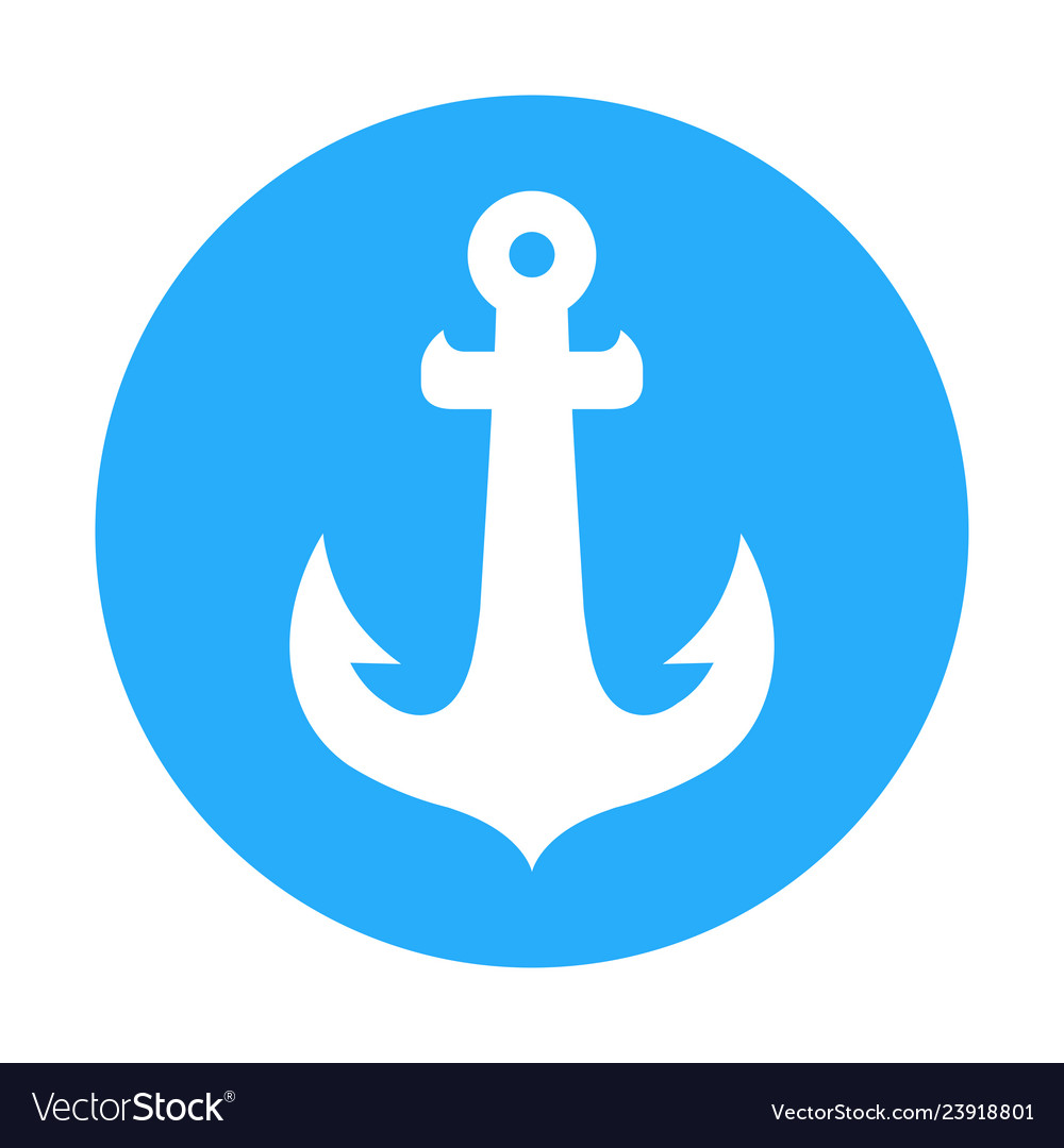 Icon sign with anchor of ship