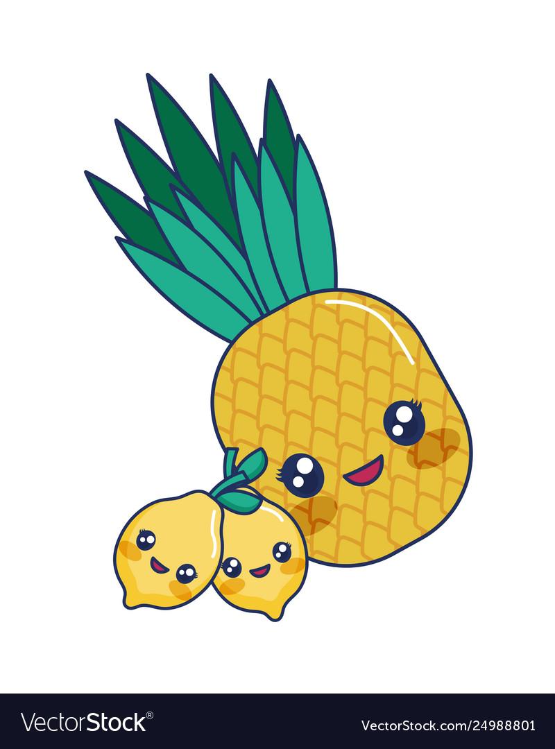 Kawaii Cartoon Pineapple Lemon Fruit Tropical