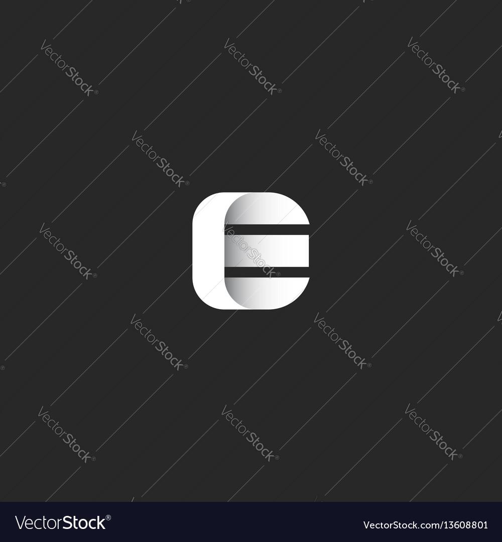 Letter e logo smooth stripe shape sleek gradient