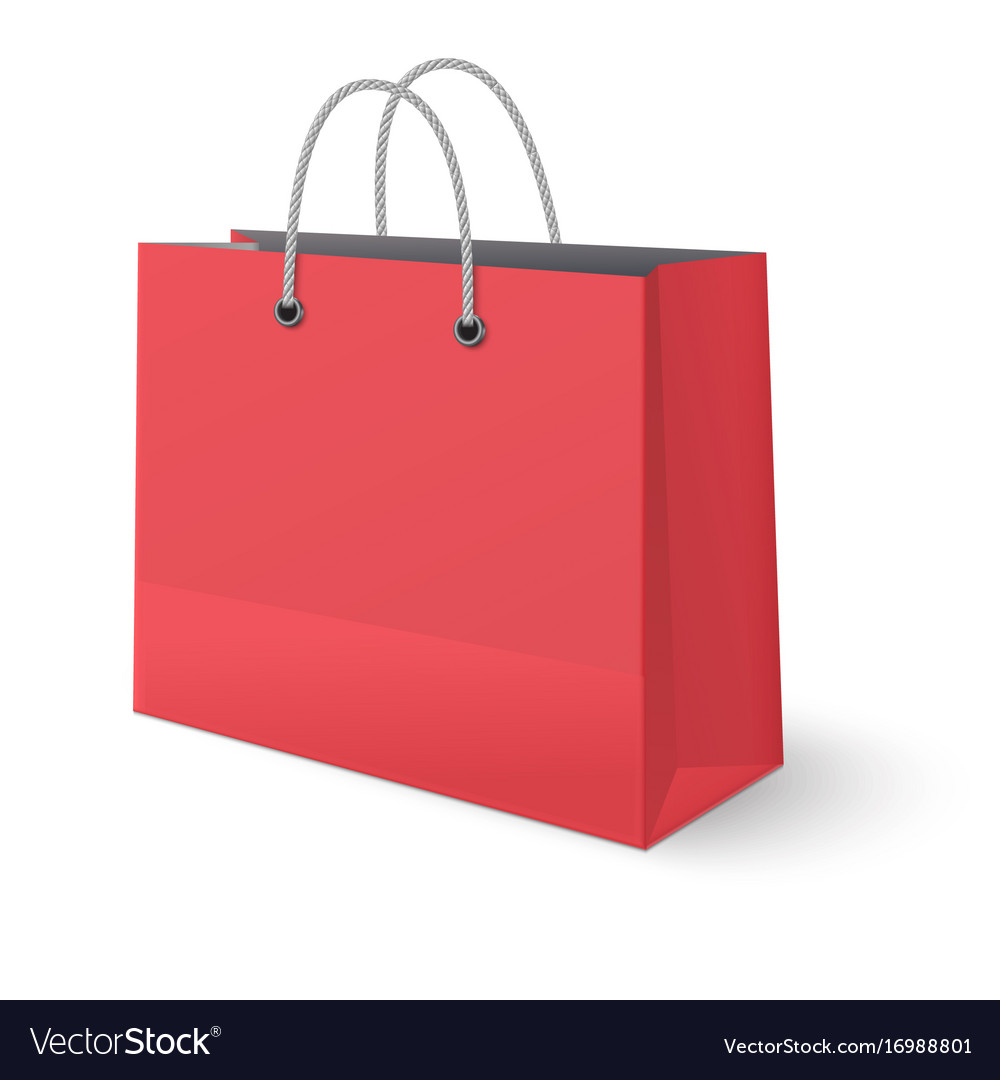 Red paper classic shopping bag isolated on white